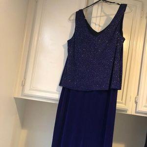 Purple Glitter Layered Dress with Jacket